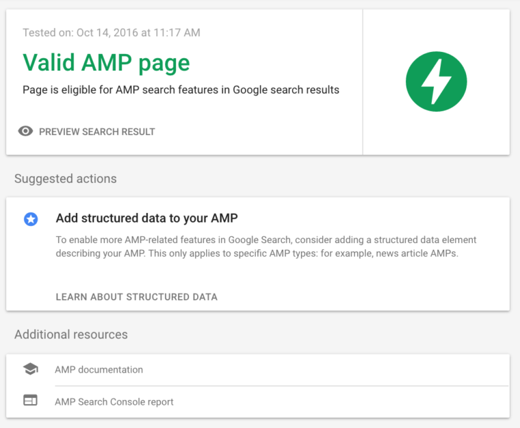 AMP update from Google