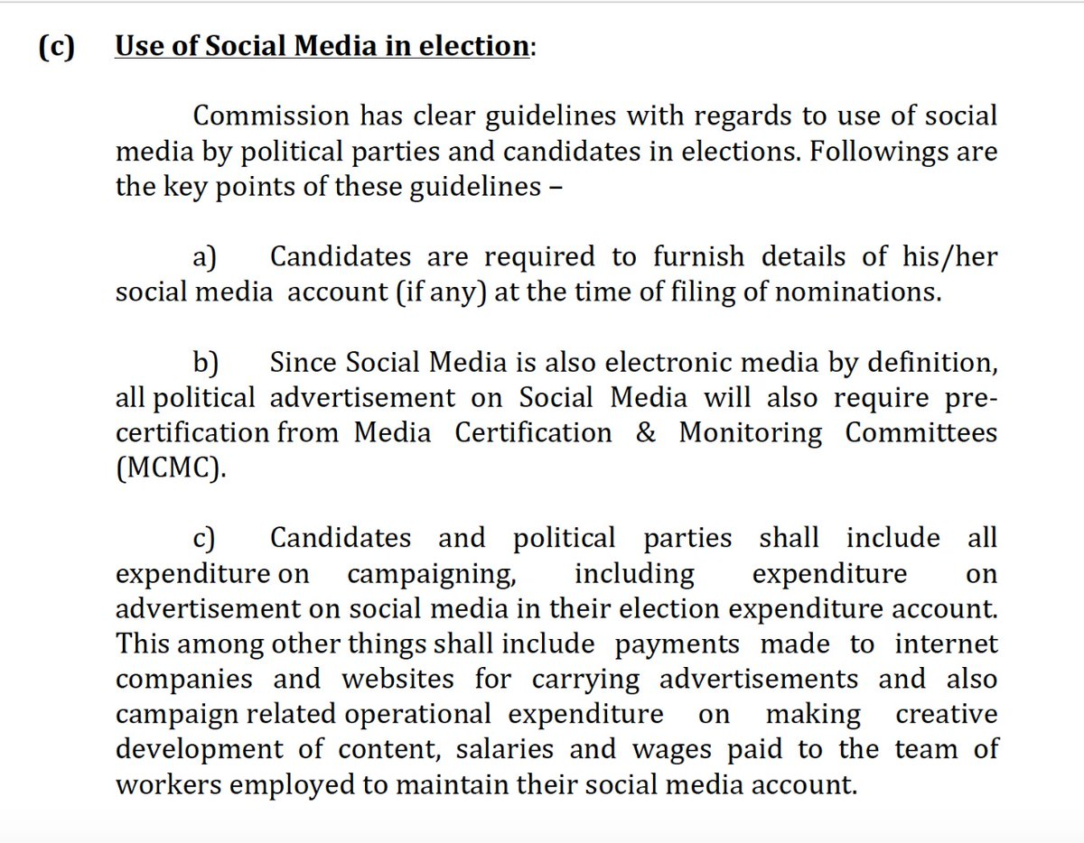 Social Media Instruction by indian election commision